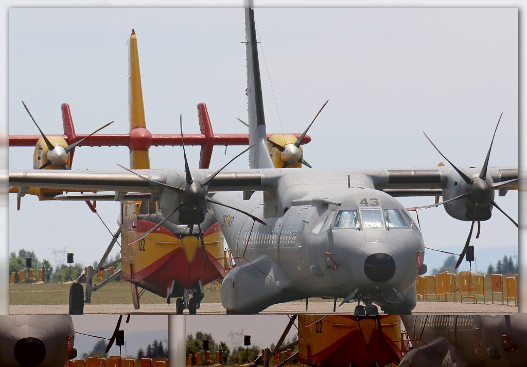 CASA C-295M (T.21-05 / 35-43) y Canadair CL-215T (UD.13 / 43-28) del Ejército del Aire.