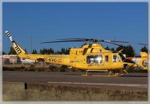 Bell 412EP (EC-KVC) de Babcock. Parque Central de Bomberos de Las Rozas, Madrid (LELR).