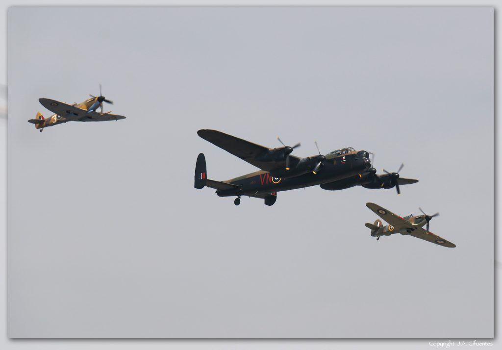Spitfire, Avro Lancaster y Hurricane de la RAF.