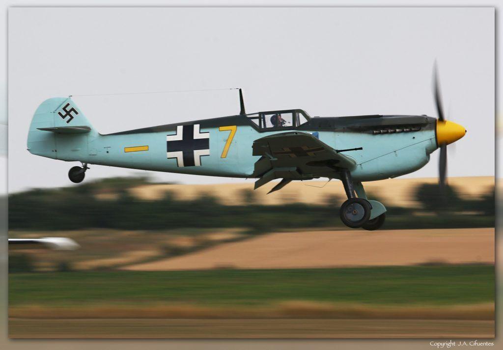 """Hispano HA-1112-M4L Buchon """"Yellow 7″ (G-AWHM)."""