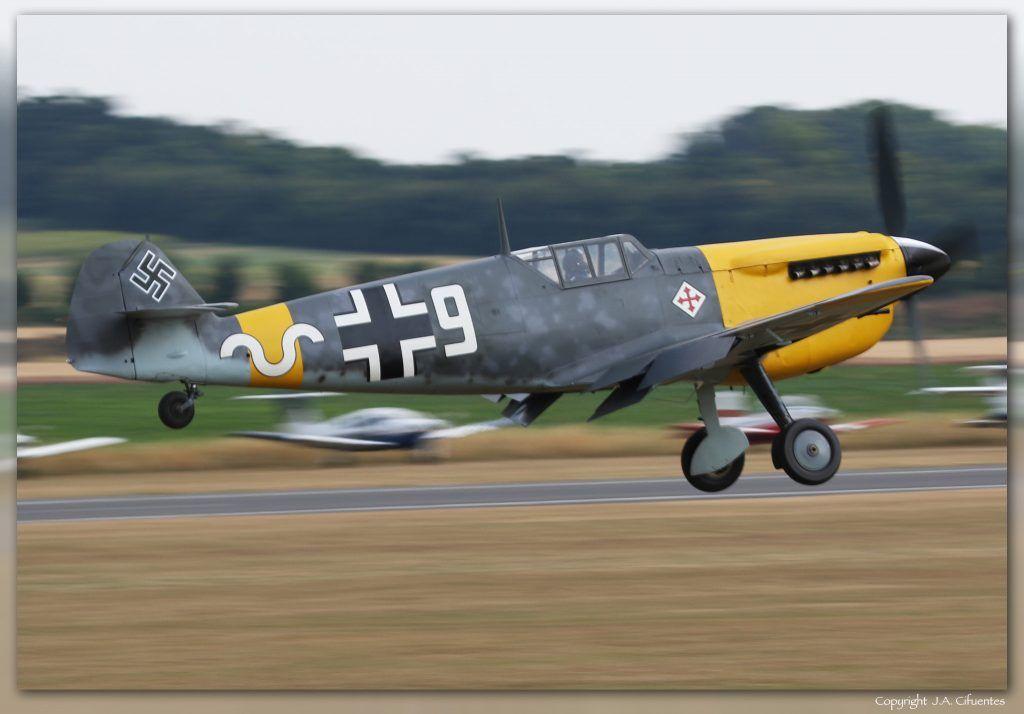 """Hispano HA-1112-M4L Buchon """"White 9″ (G-AWHH)."""