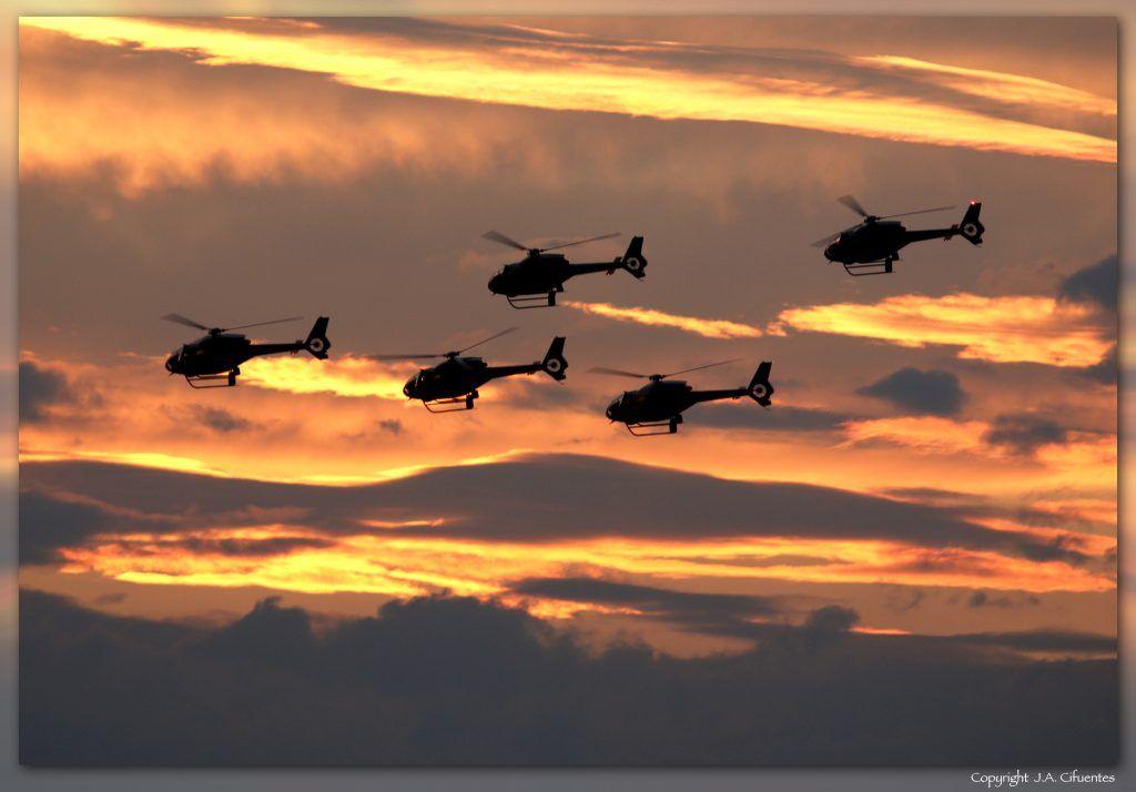 Patrulla Aspa del Ejercito del Aire con los Eurocopter EC120-B Colibri.